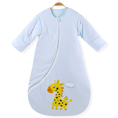 EsTong Unisex Baby Cotton Sleeper Gowns Toddler Wearable Blankets Long Sleeve Sleeping Bag Sack Blue Thick M ()