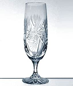 Handcut Crystal Red Wine Glasses with Stem, Mouth Blown in a Pinwheel Design, 6 Ounce Set of 6
