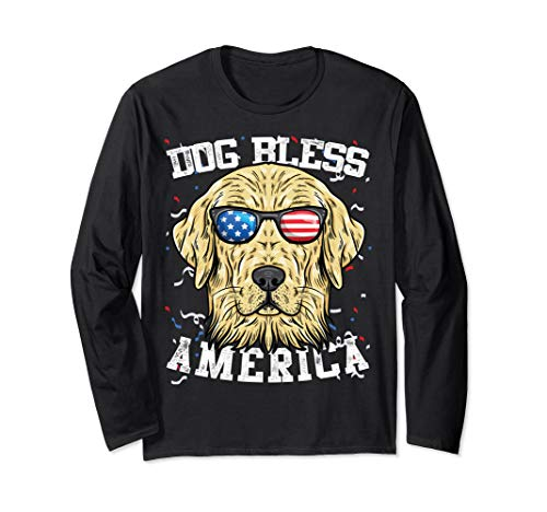 Bless America Golden Retriever - Golden Retriever Bless America 4th of July Funny Party Gifts Long Sleeve T-Shirt