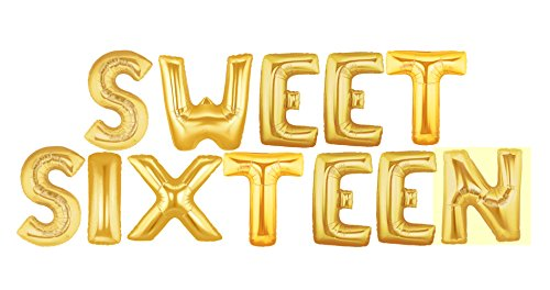 Foil 14 Letter Balloons Saying Phrase Word Decor Sweet Sixteen