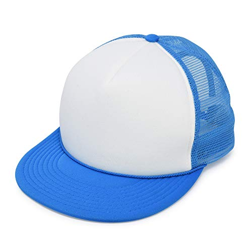 Mens Flat Billed Trucker Hat Mesh Back M L XL Adjustable Cap in Neon-Blue-White