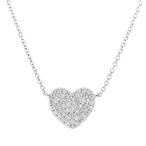 Naava or blanc 18 carats-Diamant 0,15 carat-Collier Femme-Pendentif en forme de coeur Longueur :  41 cm