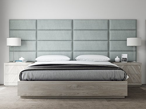 VANT Upholstered Headboards - Accent Wall Panels - Packs Of 4 - Textured Cotton Weave Ash Gray - 39' Wide x 11.5' Height - Easy To Install - Twin - King Size Headboard