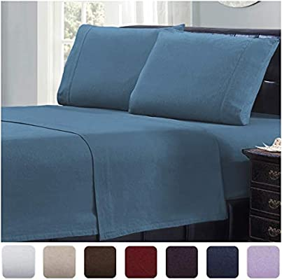 Amazon Com Mellanni 100 Cotton Flannel Sheet Set Lightweight 4 Pc Luxury Bed Sheets Cozy Soft Warm Breathable Bedding Deep Pockets All Around Elastic King Blue Home Kitchen