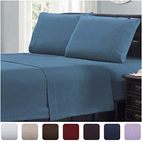 Mellanni 100% Cotton Flannel Sheet Set - Lightweight 4 pc Luxury Bed Sheets - Cozy, Soft, Warm, Breathable Bedding - Deep Pockets - All Around Elastic (Full, Blue)