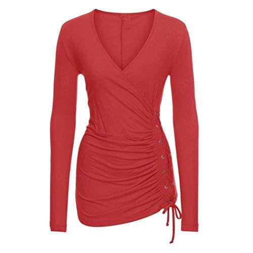 Blusa Primaverile Accogliente Chic Rot Eleganti Fit Puro Donna Shirts Autunno Camicetta Ragazza Tops Magliette Slim Lunga Manica Casual Fashion V Colore Festivo Neck qw7R5Wx
