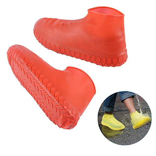 Cutedoy Shoe Covers,Outdoor Waterproof Silicone Shoes Covers and Reusable Rain Boots for Cycling,Outdoor,Camping,Fishing,Garden (Red, M) ()