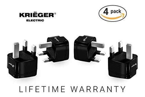 Krieger UK Power Adapter - Type G Travel Adapter - United Kingdom Universal Schuko Plug Adapter- CE Certified (Type G - United Kingdom, Hong Kong, UAE) -
