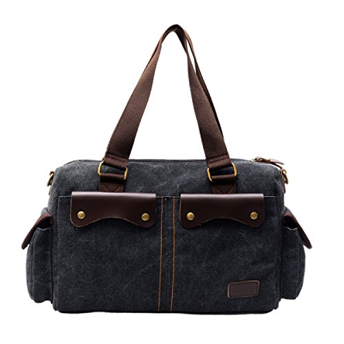 Canvas Messenger Bag Borsa A Tracolla Laptop Bag Black,C-OneSize