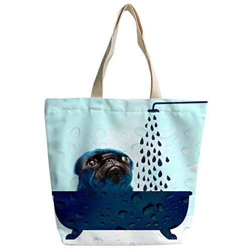 Violetpos Benutzerdefiniert Canvas Handtasche Einkaufstaschen Umhängetasche Schultasche Mops Hund Nehmen Sie ein Bad