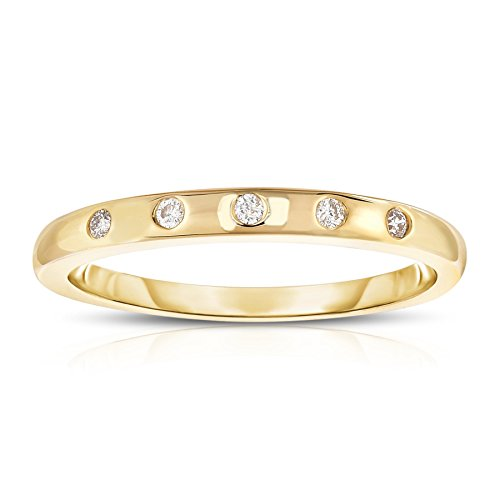Noray Designs 14K Yellow Gold (0.06 Ct, G-H, SI2-I1 Clarity) Stackable Ring. Available in sizes 4 to 9. by Noray Designs