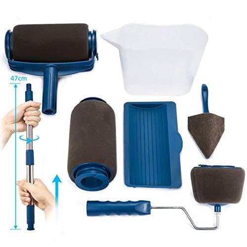 Paint Roller Brush Kit ARTISTORE Paint Runner Pro Brush with 2 Paint Runner Pro(1 replacement), Telescopic Poles, Handle Flocked Edger Room Wall Printing for Home Office(7 Pcs)