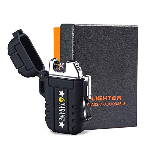 Plasma Lighters, Waterproof Windproof Flameless Lighters Dual Arc USB Electric Lighters Rechargeable for Outdoor/Camping/BBQ/Hiking (Black New)