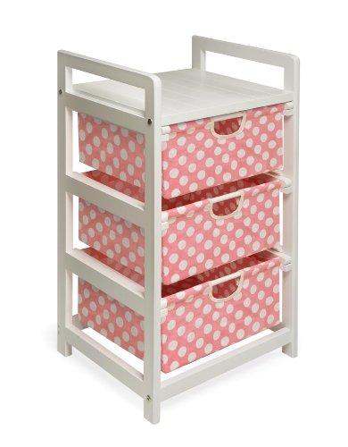 Badger Basket Three Drawer Hamper/Storage Unit White/Pink Polka Dot