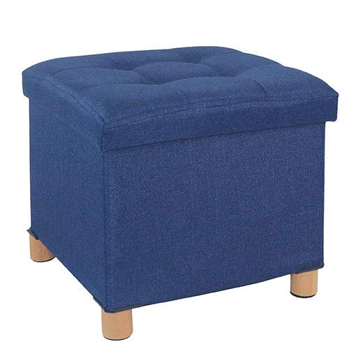 Cassilia Foldable Storage Ottoman Square Cube Coffee Table Multipurpose Footrest Stool for Bedroom and Living Room Storage (Blue Ottoman)