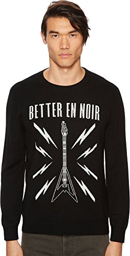 The Kooples Men's Black Intarsia Sweater with Guitar Logo Black Medium