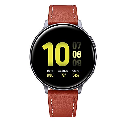 Aottom Compatible for Samsung Galaxy Watch Active 2 Band Leather 20MM Quick Release Metal Clasp Sport Wristband Bracelet Replacement Band for Samsung Galaxy Watch 3 41mm/42mm/Active/Active 2 40mm 44mm
