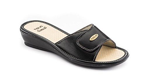 tiglio Pantofole Donna 1656 Nero Tomaia Regolabile (39)
