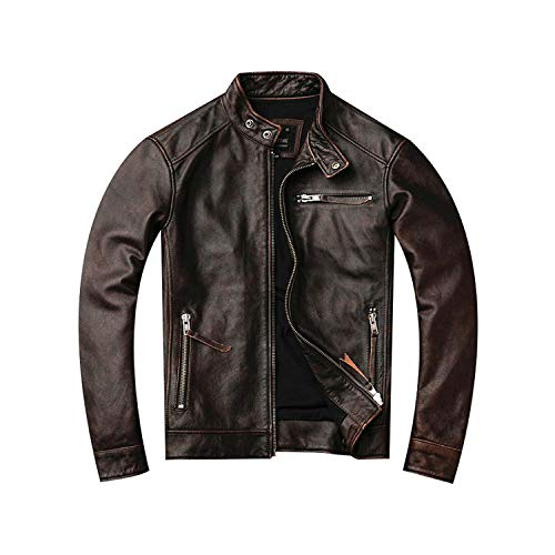 sexy-drunk Classic Motor Style,Vintage Leather Jacket,Fashion Men Brown Leather Coat,Street Biker Coat,Sales