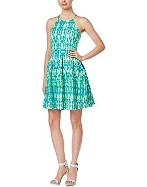Calvin Klein Women's Printed Halter Fit & Flare Sheath Dress Size 6