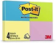 Blocos de Notas Adesivas Post-it Neon 4 cores - 4 Blocos de 38 mm x 50 mm - 100 folhas cada