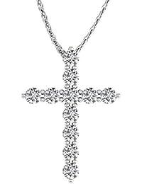 IGI Certified 14K Gold Cross Diamond Pendant Necklace (1/2 Carat)