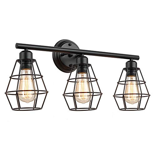 KOONTING 3-Light Industrial Bathroom Vanity Light, Metal Wire Cage Wall Sconce, Vintage - And Vanity Lighting Wall Bathroom Mounted Mirrors