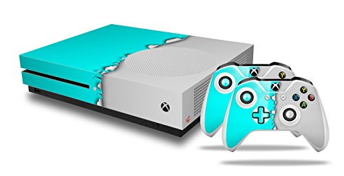Ripped Colors Neon Teal Gray - Decal Style Skin Set fits XBOX One S Console and 2 Controllers (XBOX SYSTEM SOLD SEPARATELY)