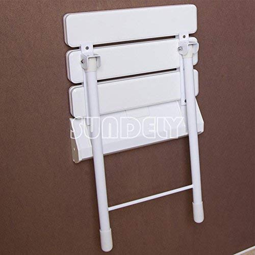 Supports up to 180kgs // 28.3st // 396.8lbs SUNDELY/® ABS Plastic Wall Mounted Folding Shower Seat Bathroom Stool Adjustable with Drop Down Metal Legs White