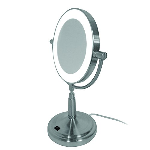 Hospitality Source LED Makeup Mirror, Compact, Brushed Ni...