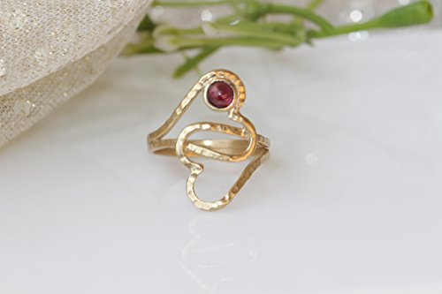 GARNET HEART RING,Anniversary Gift,Dual Heart Ring,Mothers Ring,January Birthstone Ring,Open Heart Ring,Gentle Ring,Inspirational Woman Gift -