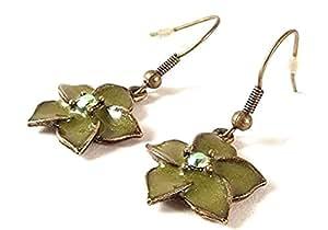 Pendientes - mujer verde de caída de - diseño floral para orejas perforadas - 13092