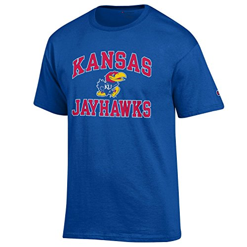 Champion NCAA Men's Shirt Short Sleeve Officially Licensed Team Color Tee, Kansas Jayhawks, Small