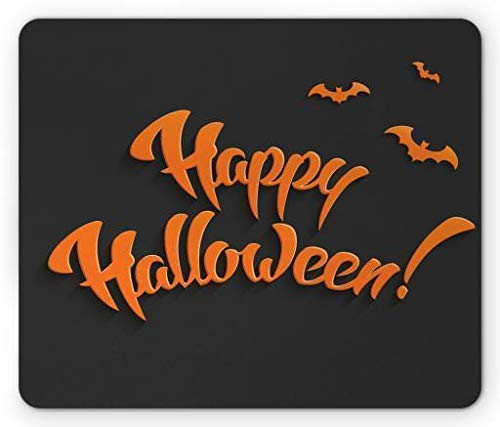 Halloween Mouse Pad, Flying Bats and Happy Halloween on Greyscale Background Party Fun Horror Scary Gaming Mousepad Office Mouse Mat Grey Orange -