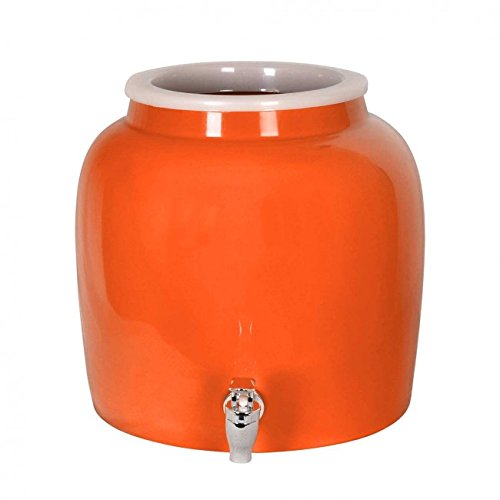 Porcelain Water Dispenser Crock - 2.5 Gallons - Comes with Crock Ring Protector and Chrome Painted Spigot Faucet - For Use With Water, Kombucha, Punch and More - Orange