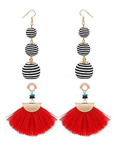 Shoopic 2 Pairs Boho Bon Bon Long Tassel Dangle Earrings Set Sector Drop Earrings for Women Christmas Bonbons