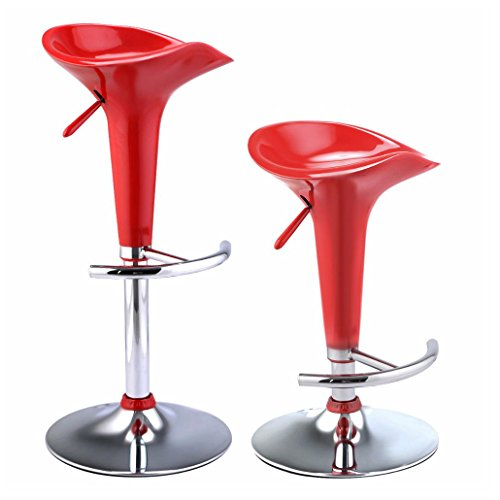 RED - Set of 2 Modern Bombo Style Swivel Barstools Adjustable Counter Chair Bar Stools