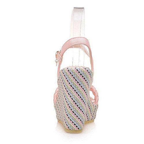 BalaMasa Womens Sandals Peep-Toe Cold Lining Urethane Sandals ASL04719 Pink fjHvZ