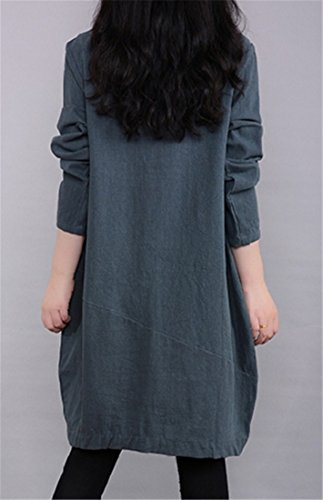 Vintage Midi Pocket Long Green Cruiize Sleeve Dress Long Solid Linen Womens qFtHw8P