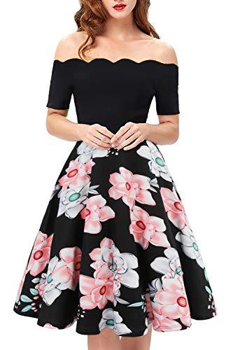 Womens Vintage Floral Patchwork Dresses Off Shoulder Scalloped A Line Swing Work Casual Dresses(Black&Pink,Small,0111)