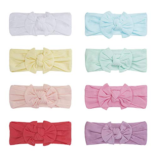 Baby Girl Headbands and Bows - Elastic Turban Head Accessories Hair Bands, Ties (Sweet Pastel)