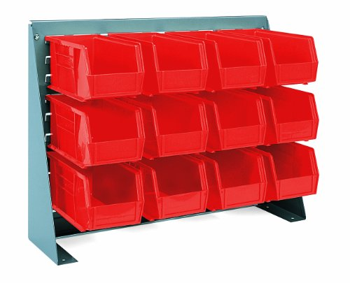 Akro-Mils 96380 Louvered Panel Work Bench Rack and Plastic Hanging Bin Set