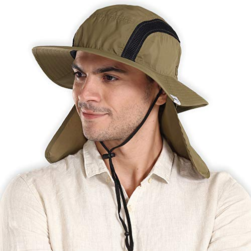 (Outdoor Boonie Sun Hat for Men & Women - Wide Brim Summer Hat with Packable Neck Flap for Sunburn & UV Protection - Bucket Hat for Fishing, Hiking, Camping & Safari. Moisture Wicking & Breathable Mesh)