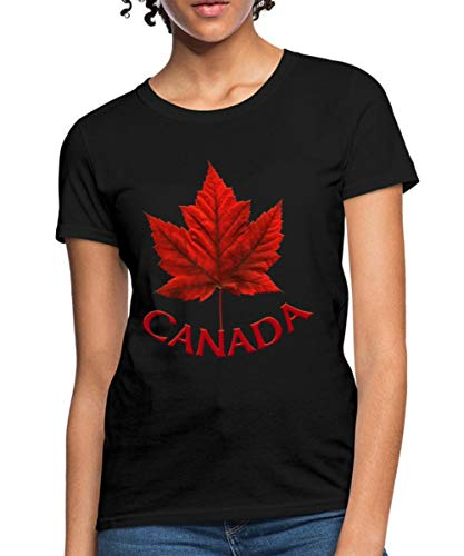 (Spreadshirt Canada Maple Leaf Canadian Women's T-Shirt, M (Size 8-10), Black )