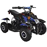 Rosso Motors Kids ATV Kids Quad 4 Wheeler Ride On with 500W 36V Battery Electric Power Lights in Blue Motorcycle for Kids, Disc brake system for Child Safety