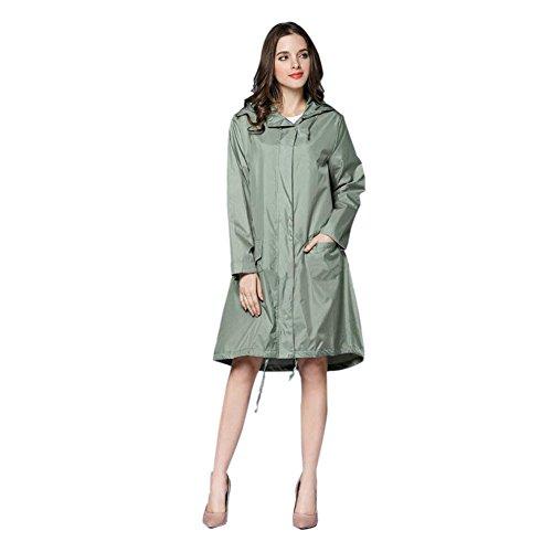Hzjundasi Femmes Raincoat Impermable Portable De plein air Randonne Veste Anti-pluie Coupe-vent Fermeture clair Poids lger Poncho Encapuchonn Vtements de pluie Vert