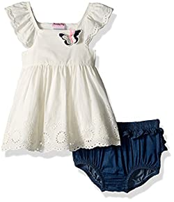 Nannette Baby Girls' Woven Fashion Top and Chambray Panty