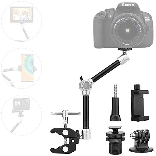 """TOAZOE 11"""" Adjustable Robust Articulating Friction Magic Arm Clamp Holder Mounts Kit for DSLR/Mirrorless/Action Camera/Camcorder/LCD Monitor Video Vlog Rig w/Smartphone/iPhone/GoPro/Arlo etc"""