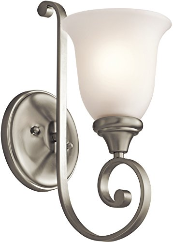 Monroe 1 Light Sconce - Kichler 43170NI Monroe Wall Sconce 1-Light, Brushed Nickel