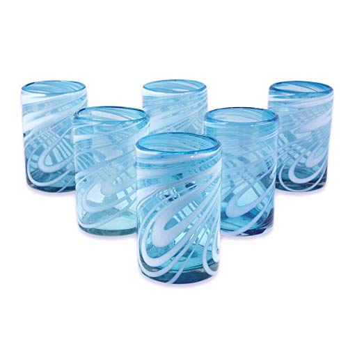 NOVICA Blue and White Swirl Hand Blown Glass Water Glasses, 15 oz, 'Whirling Aquamarine' (set of - Water Stripe Glasses